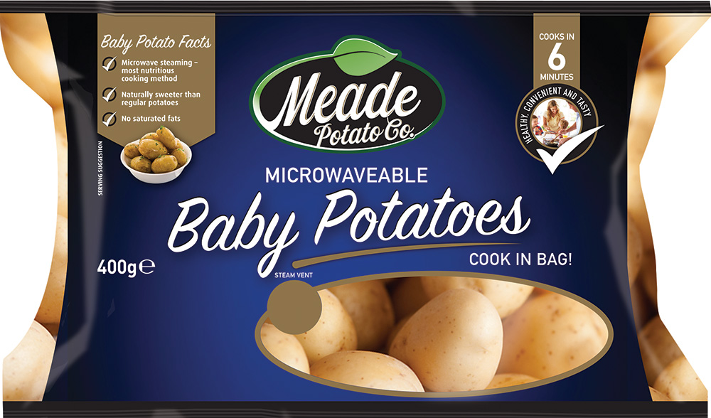 Our microwaveable baby potato pack is a big seller due to its convenience and the sweet, creamy taste of our baby potatoes