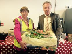 Maragret wins the hamper at the LMFM Mystery tour giveaway, presented by Philip Meade Sr.