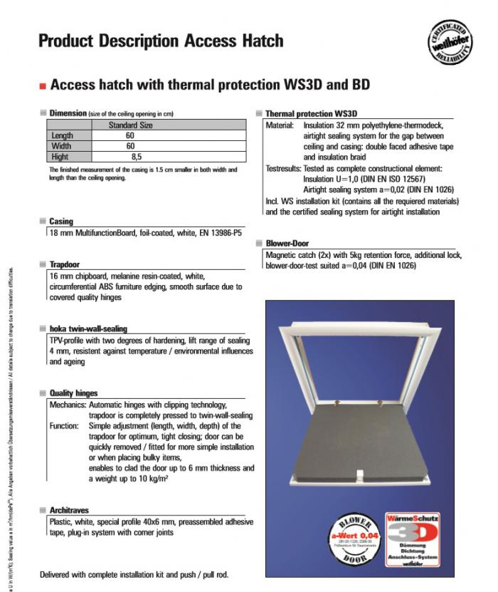 Wellhofer Airtight Access Hatch description