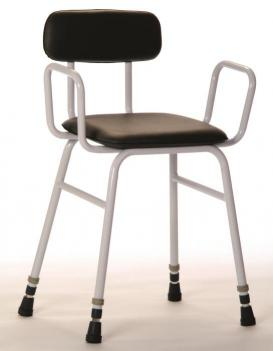 Perching Stool with Arms and Padded Back