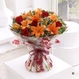 Autumn Rose & Lily Hand-tied Bouquet