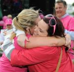An emotional hug at the finish line