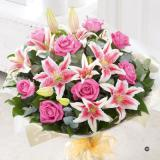 Pink Rose and Lily Hand Tied Bouquet Large