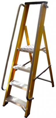 Glassfibre stepladder with handrails